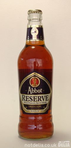 A bottle of Greene King's Abbot Reserve strong ale