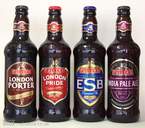 Four ales from Fuller's: London Porter, London Pride, Extra Special Bitter, India Pale Ale