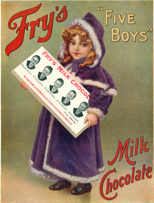 Edwardian advertising poster of a little girl holding an outsized bar of Fry's Five Boys