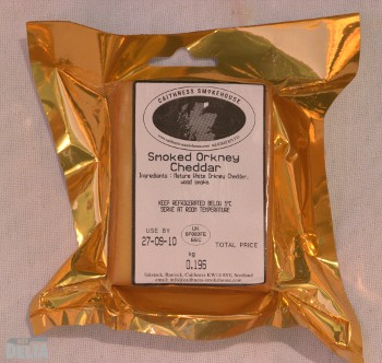A packet of Orkney smoked Cheddar from the Caithness Smokehouse