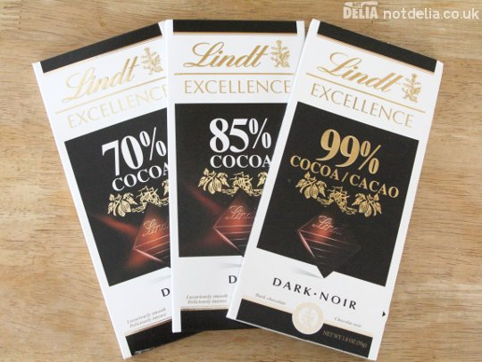 Three bars of chocolate from Lindt Excellence - 70%, 85% and 99%