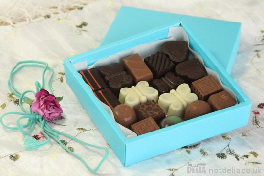 Selection of chocolates in a gift box