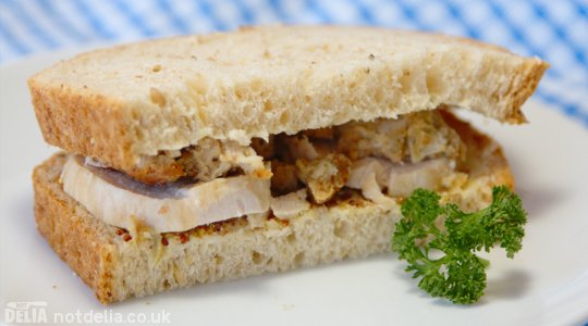 Roast pork tenderloin and stuffing sandwich