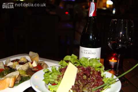 Vegetable antipasto, Serrano & Manchego salad and a bottle of Rioja at Zaks Wine Pub, Bangkok