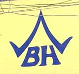 "Logo of the Old German Beerhouse in Bangkok - the capital letters ""BH"" surmounted by a Thai-style roof"