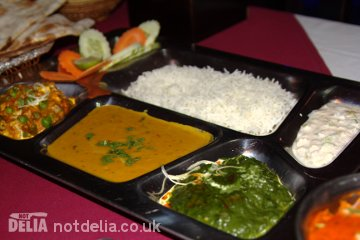 A vegetarian thali (platter)