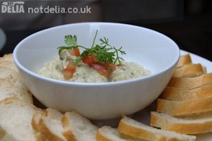 Friends Restaurant's smoked aubergine dip with French bread
