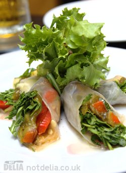 Friends Restaurant's fresh spring rolls with roasted peppers, cucumber and rocket