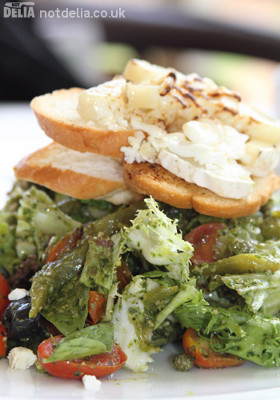 A Tuscan bread salad with grilled goat's cheese and roasted bread and peppers