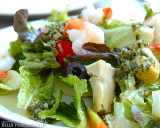 Prawn and artichoke salad with gremolata dressing