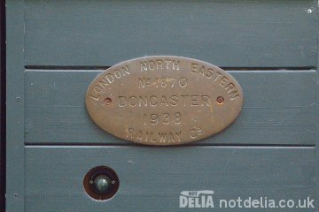 A maker's plate on a London & North East Railways railway carriage